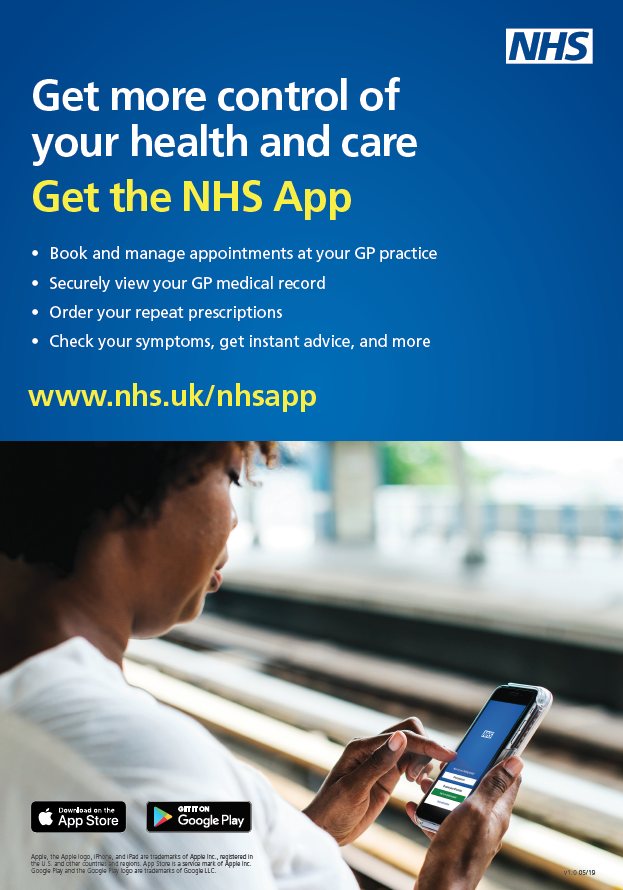 Try the new NHS App' – Sycamore House Surgery
